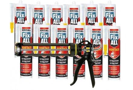 12x Soudal Fix All High Tack + kitspuit zwaar model bundel actie